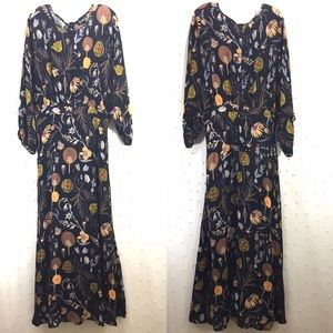 Anthropologie Black Botanical Maxi Dress Sz 10